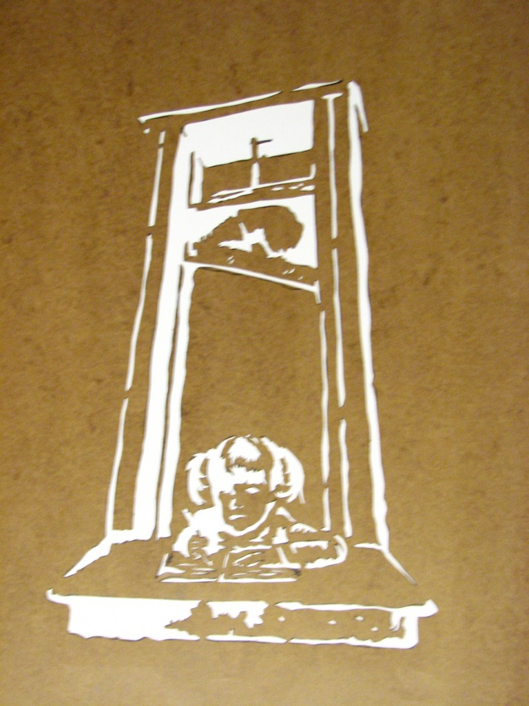 Girl On Guillotine http://territorialmasquerades.net/street-art-and-protest/